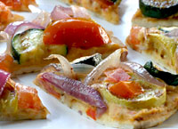 Grilled Vegetable and Hummus Pita Pizzas