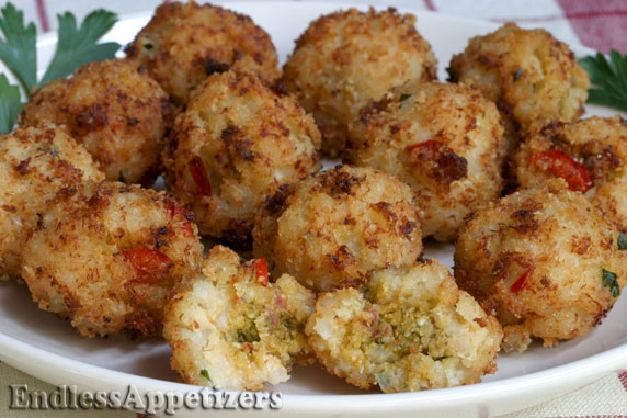 Pesto Stuffed Crab Balls